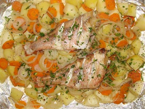 Морской окунь с кабачками в духовке рецепты